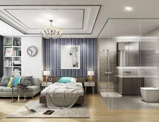 现代公寓, 双人床, 床头柜, 台灯, 壁画, 多人沙发, 置物柜, 吊灯, 置物架, 现代