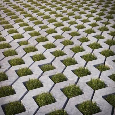 室外, 地面, 地砖, 绿植, 现代