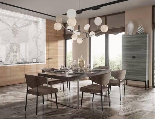 现代简约, 桌椅组合, 吊灯, 餐具组合, 餐厅