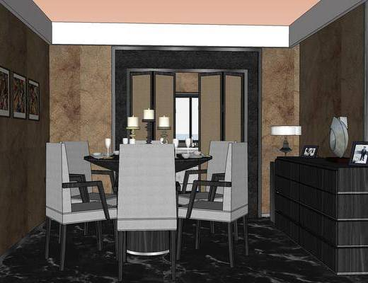 客厅, 餐厅, 现代, 沙发组合