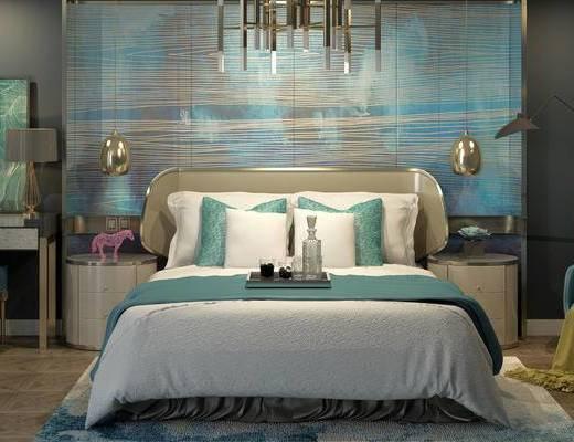 床具组合, 双人床, 壁画, 床头柜, 桌子, 椅子, 吊灯, 台灯, 边几, 落地灯, 北欧