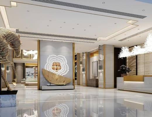 前台, 接待台, 吊灯, 装饰镜, 盆栽, 大堂, 后现代, 1000套空间酷赠送模型