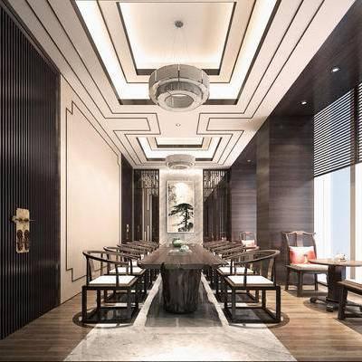 中式, 茶室, 桌椅组合, 吊灯, 茶具组合, 下得乐3888套模型合辑