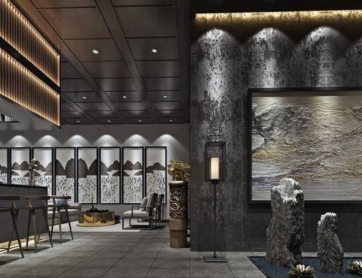 会客区, 吧台, 吧椅, 落地灯, 壁画, 新中式