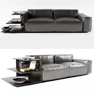 多人沙发, 现代, 皮质, 黑色, 沙发