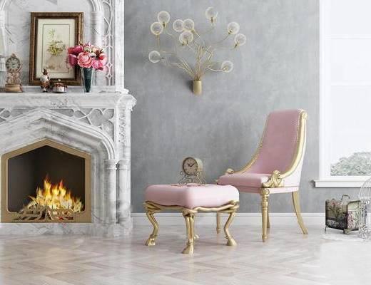 欧式, 沙发椅, 脚踏, 陈设品, 壁灯