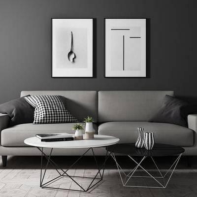茶几, 双人沙发, 壁画, 北欧