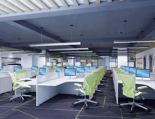 现代办公室, 桌子, 椅子, 壁画, 吊灯, 置物架, 现代