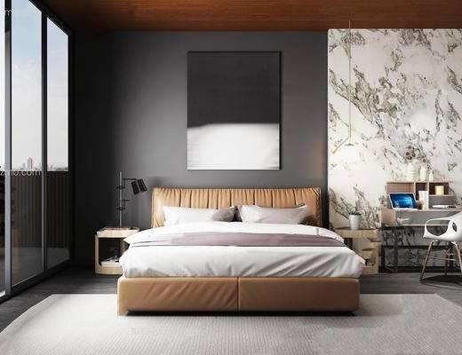 现代简约, 床具组合, 书桌, 台灯
