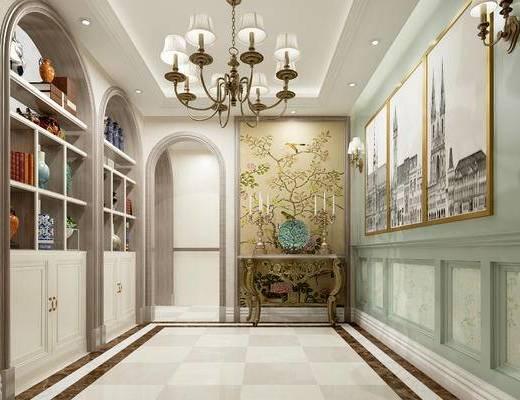 美式玄关走廊, 壁画, 吊灯, 置物柜, 壁灯, 边几, 美式