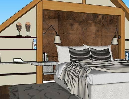 卧室, 双人床