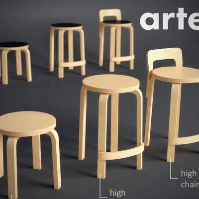 现代简约, 实木凳子, 凳子, 下得乐3888套模型合辑