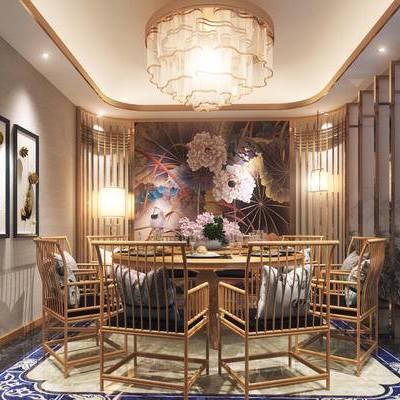中式包间, 桌子, 椅子, 壁画, 吊灯, 落地灯, 中式