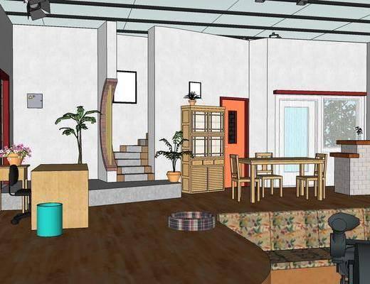 现代客厅, 客厅, 桌椅组合
