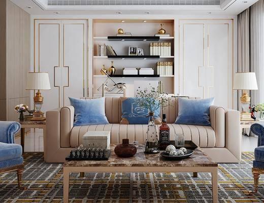 后现代, 客厅, 沙发, 茶几, 台灯, 茶具, 植物柜, 摆件, 陈设品