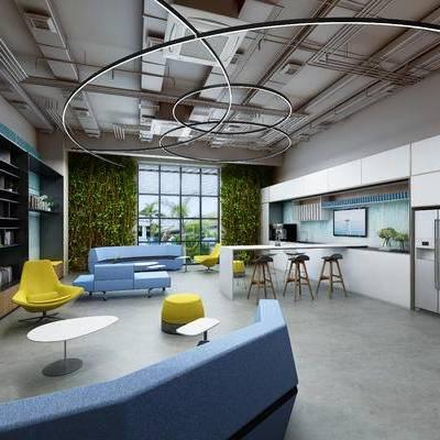 会客区, 吊灯, 吧台, 吧椅, 多人沙发, 置物柜, 椅子, 凳子, 现代