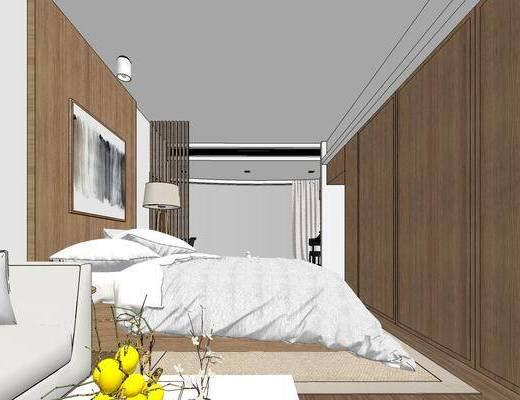 现代公寓, 壁画, 双人床, 落地灯, 多人沙发, 茶几, 边几, 边柜, 现代