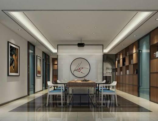会客厅, 桌子, 椅子, 置物柜, 壁画, 新中式