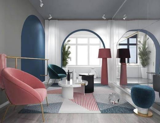现代客厅, 单人沙发, 边几, 壁灯, 落地灯, 沙发凳, 盆栽, 玩偶, 地毯, 现代