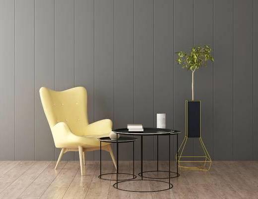 沙发组合, 茶几, 单人沙发, 现代