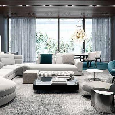 后现代客厅, 多人沙发, 茶几, 椅子, 边几, 桌子, 沙发脚踏, 后现代