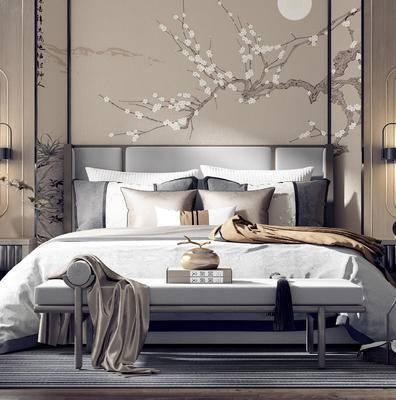 卧室, 床具组合, 床头柜组合, 新中式卧室