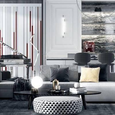 后現代客廳, 客廳, 客廳餐廳, 沙發組合