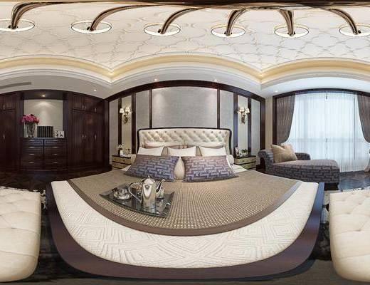 简美卧室, 双人床, 沙发床榻, 吊灯, 床头柜, 壁灯, 储物柜, 边柜, 花瓶, 地毯, 美式贵妃椅, 简约美式