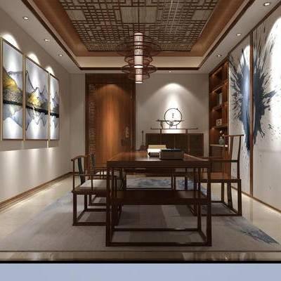 中式书房, 壁画, 桌子, 椅子, 置物柜, 吊灯, 中式