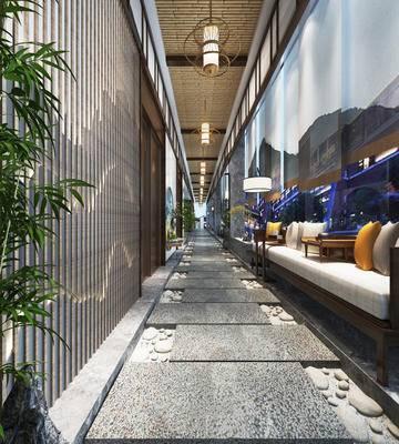 走廊过道, 沙发组合, 吊灯, 落地灯, 中式