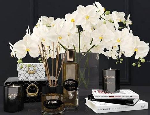 欧式简约, 书本, 香水, 鲜花, 陈设品组合