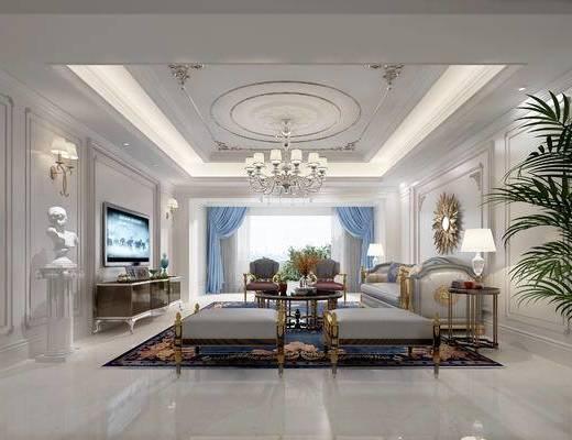 欧式客厅, 吊灯, 多人沙发, 茶几, 边几, 电视柜, 台灯, 沙发凳, 壁灯, 欧式