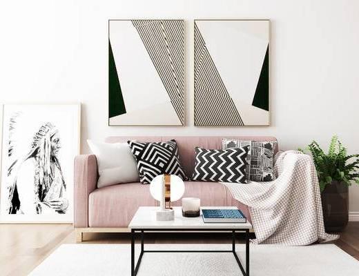 沙发组合, 双人沙发, 壁画, 茶几, 盆栽, 北欧