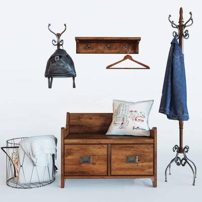鞋柜, 衣架, 衣服, 书包, 收集篮, 枕头, 北欧
