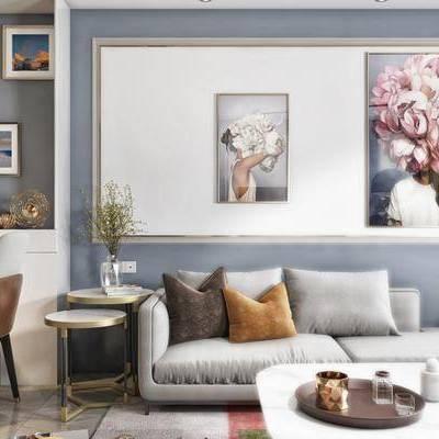 北欧客厅, 壁画, 多人沙发, 茶几, 边几, 椅子, 吊灯, 落地灯, 地毯, 北欧