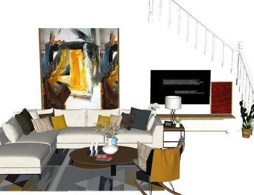 沙发组合, 多人沙发, 茶几, 壁画, 台灯, 现代