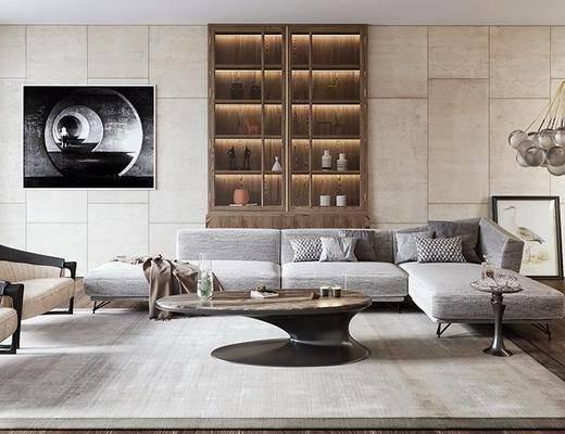 现代客厅, 现代沙发茶几组合, 壁画, 吊灯, 相框, 台灯, 储物柜, 地毯, 现代
