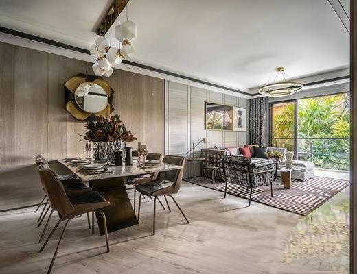 后现代客餐厅, 吊灯, 桌子, 椅子, 多人沙发, 壁画, 茶几, 边几, 台灯, 后现代