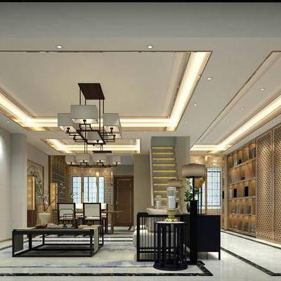 客厅, 茶室, 吊灯, 置物柜, 壁画, 新中式沙发, 边几, 台灯, 茶几, 新中式