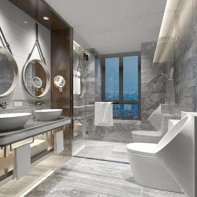 卫浴, 镜子, 洗手台, 马桶, 淋浴间, 毛巾, 现代