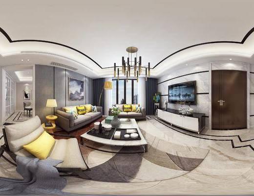 现代简约客厅, 吊灯, 现代沙发茶几组合, 壁画, 沙发躺椅, 电视柜, 边几, 台灯, 相框, 落地灯, 现代