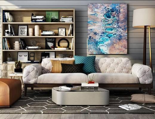 现代简约, 沙发茶几组合, 置物柜, 陈设品组合, 挂画
