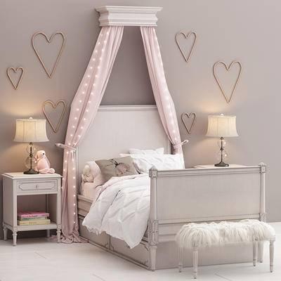 单人床, 北欧, 边柜, 台灯, 摆件, 儿童床, 玩具, 玩偶, 书籍