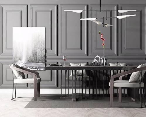 欧式简约, 桌椅组合, 吊灯, 花瓶