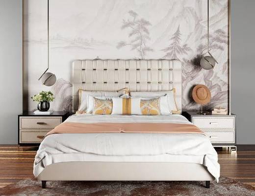 中式卧室, 双人床, 床头柜, 吊灯, 盆栽, 中式