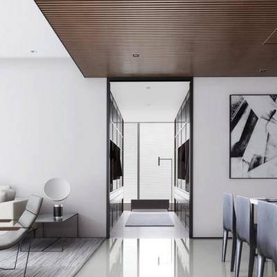 现代客厅, 现代沙发组合, 壁画, 桌椅组合, 沙发躺椅, 边几, 台灯, 地毯, 现代