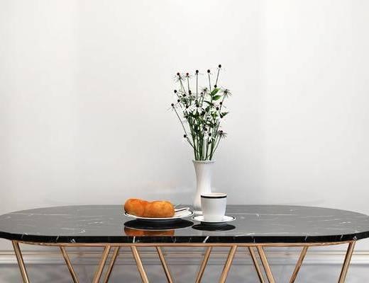 摆件组合, 桌子, 花瓶, 杯子, 简欧