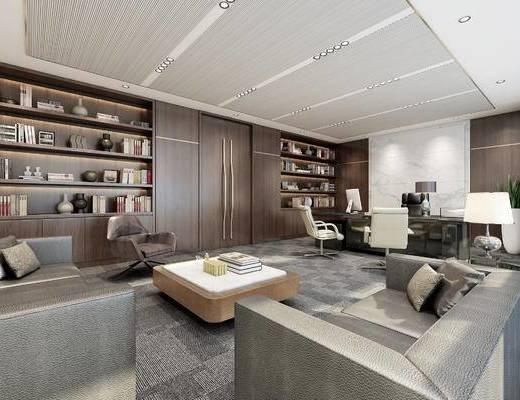 现代, 办公室, 办公桌, 椅子, 置物架, 书籍, 沙发, 茶几, 台灯