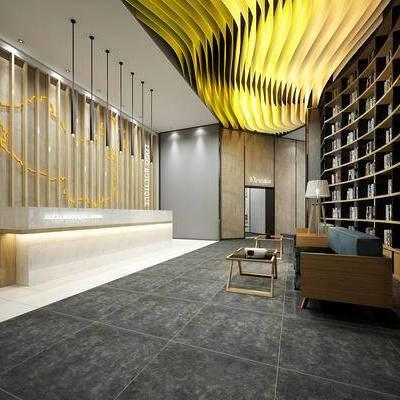 前台大厅, 多人沙发, 边几, 置物柜, 吊灯, 落地灯, 现代