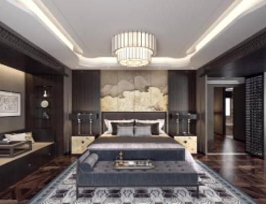 中式卧室, 双人床, 吊灯, 台灯, 床尾凳, 壁画, 中式桌椅组合, 摆件组合, 中式